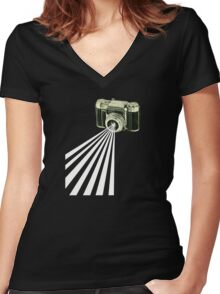 Depth of Field Women's Fitted V-Neck T-Shirt