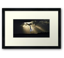 Seagull & Sunbeams Ocean Sunset with Water Reflections Framed Print