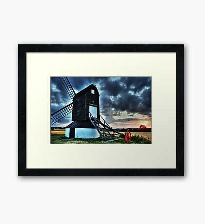 Pitstone Windmill Sunset in HDR Framed Print