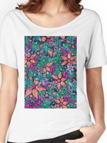 Retro Trendy Floral Pattern Women's Relaxed Fit T-Shirt