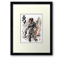 Female Shepard with Japanese Calligraphy Courage Framed Print