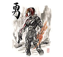 Female Shepard with Japanese Calligraphy Courage Photographic Print