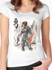 Female Shepard with Japanese Calligraphy Courage Women's Fitted Scoop T-Shirt