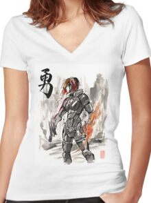 Female Shepard with Japanese Calligraphy Courage Women's Fitted V-Neck T-Shirt