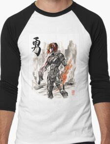 Female Shepard with Japanese Calligraphy Courage Men's Baseball ¾ T-Shirt