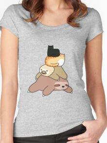 Sloth and Cat Pile Women's Fitted Scoop T-Shirt