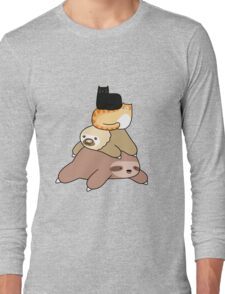 Sloth and Cat Pile Long Sleeve T-Shirt
