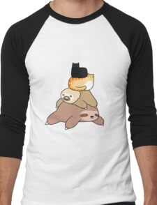 Sloth and Cat Pile Men's Baseball ¾ T-Shirt
