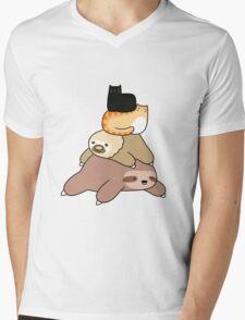 Sloth and Cat Pile Mens V-Neck T-Shirt