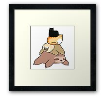 Sloth and Cat Pile Framed Print