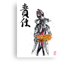 Mordin from Mass Effect Sumie Style with calligraphy Responsibility Canvas Print