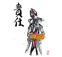 Mordin from Mass Effect Sumie Style with calligraphy Responsibility Photographic Print