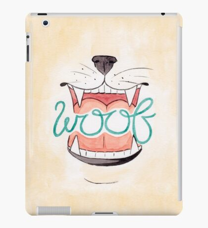 Woof - Watercolour Illustration of Dog Mouth, Tongue, Nose and Whiskers With Calligraphy Lettering Quote iPad Case/Skin