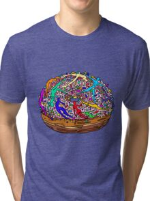 Kamasutra Space Donuts with Human Colorful Rainbow Confetti Sprinkles Tri-blend T-Shirt