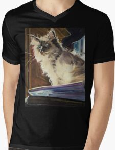 Magnificent of the Mighty Bear (Cat on Book Mountain) Mens V-Neck T-Shirt