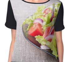 Side view of a plate of fresh salad closeup Chiffon Top