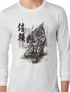 Mass Effect Garrus Sumie style with Japanese Calligraphy Long Sleeve T-Shirt