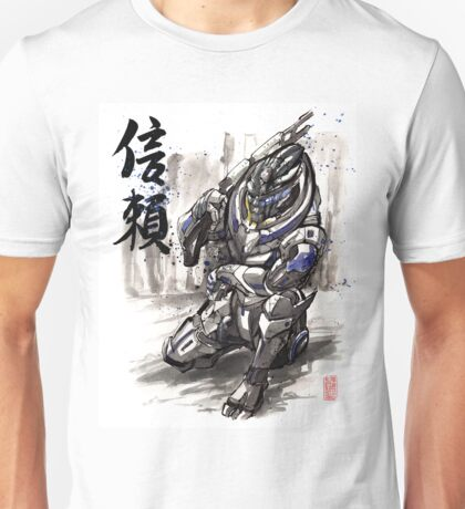 Mass Effect Garrus Sumie style with Japanese Calligraphy Unisex T-Shirt