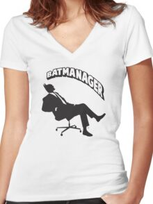 Batmanager Women's Fitted V-Neck T-Shirt