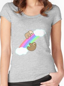 Rainbow Two and Three Toed Sloths Women's Fitted Scoop T-Shirt