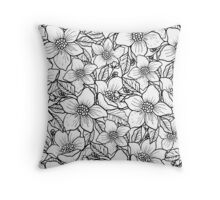 Illustrated Flowers Throw Pillow