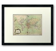 Vintage Map of The World (1778) Framed Print