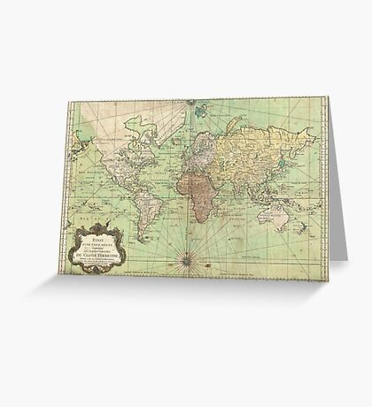 Vintage Map of The World (1778) Greeting Card