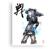Jack from Mass Effect Sumie Style with calligraphy FIGHT Canvas Print