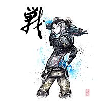 Jack from Mass Effect Sumie Style with calligraphy FIGHT Photographic Print