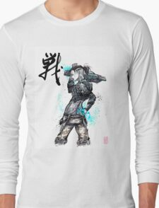 Jack from Mass Effect Sumie Style with calligraphy FIGHT Long Sleeve T-Shirt