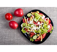 Top view of a small plate of salad made from natural raw vegetables Photographic Print