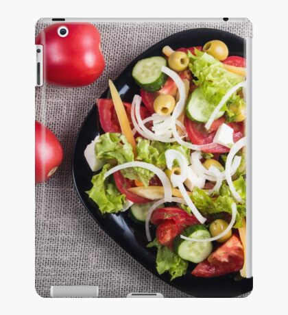 Top view of a small plate of salad made from natural raw vegetables iPad Case/Skin