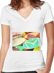 Bowls Women's Fitted V-Neck T-Shirt