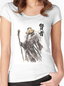 Gandalf Samurai with Sumi ink and watercolor Japanese Calligraphy Magus Women's Fitted Scoop T-Shirt