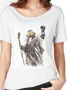 Gandalf Samurai with Sumi ink and watercolor Japanese Calligraphy Magus Women's Relaxed Fit T-Shirt