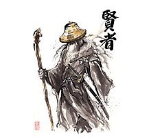 Gandalf Samurai with Sumi ink and watercolor Japanese Calligraphy Magus Photographic Print