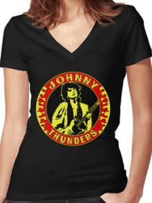 Johnny Thunders Colour Women's Fitted V-Neck T-Shirt