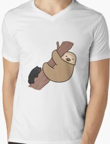 Black Cat and Two Toed Sloth Mens V-Neck T-Shirt