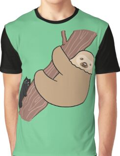 Black Cat and Two Toed Sloth Graphic T-Shirt