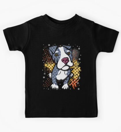 Blue Pit Bull Puppy Graphic Kids Tee