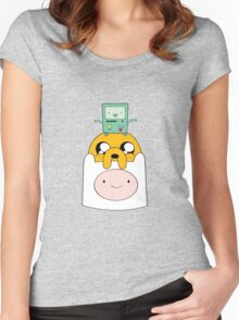 Adventure Time Totem - Finn, Jake and BMO Women's Fitted Scoop T-Shirt