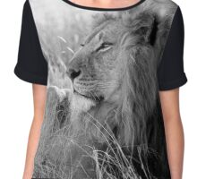 Black and White Lion Chiffon Top