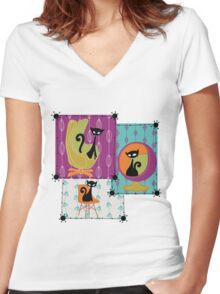60's RETRO MID-CENTURY MODERN CATS Women's Fitted V-Neck T-Shirt