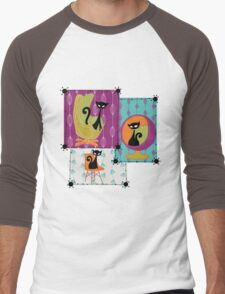 60's RETRO MID-CENTURY MODERN CATS Men's Baseball ¾ T-Shirt