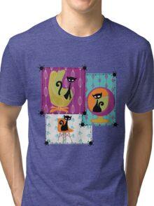 60's RETRO MID-CENTURY MODERN CATS Tri-blend T-Shirt