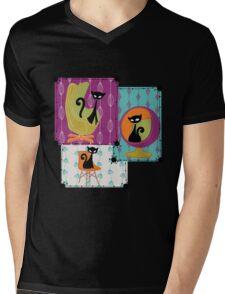 60's RETRO MID-CENTURY MODERN CATS Mens V-Neck T-Shirt