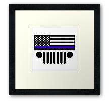 Jeep Police Blue Line Flag Framed Print