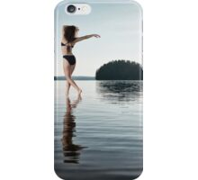 Woman dancing in morning sunlight in the nature art photo print iPhone Case/Skin