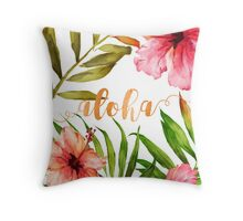 Hawaiian Tropical Floral Aloha Watercolor Throw Pillow