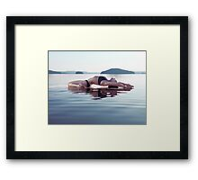 Woman practicing yoga on the water Fish pose Matsyasana art photo print Framed Print